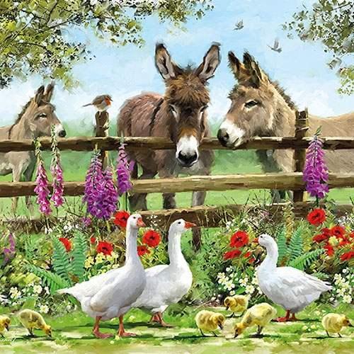 Serviette Esel und Gans